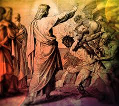 Image of Jesus driving out demons. A scared person is seen leaning over in struggle as a demon is forced out of him